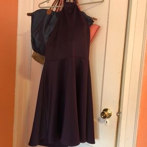 Purple Halterneck Cocktail Dress